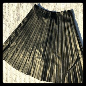 J Crew Faux Leather Pleated Skirt